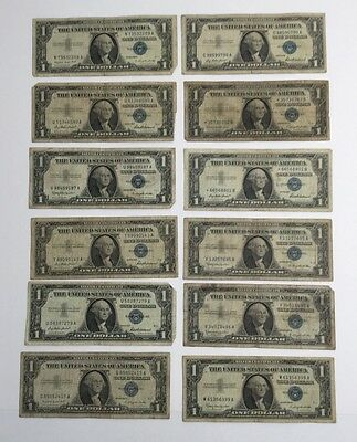 Lot of 12 Series 1957 $1 One Dollar SILVER CERTIFICATES w/STAR NOTES