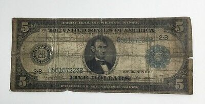 Series 1914 $5 Five Dollar Large Bill Federal Reserve Paper Money Currency