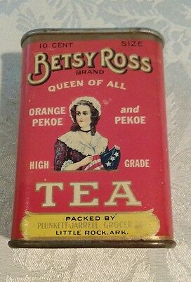 Vintage ca 1920's Betsy Ross Tea Container - Plunkett-Jarrell Grocer - Tin #1