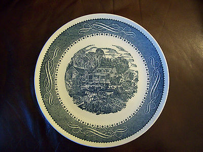 TS&T Currier Ives blue dinner plate Taylor Smith Taylor 10-3/8""