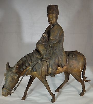 """Asian Gilt Iron Incense Burner- Horse & Rider. Two pieces. e. 20th c. 12 7/8"""" t."""