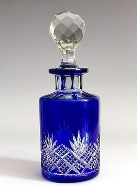 Antique Georgian Boston & Sandwich Perfume Bottle Cobalt Blue Cut Glass