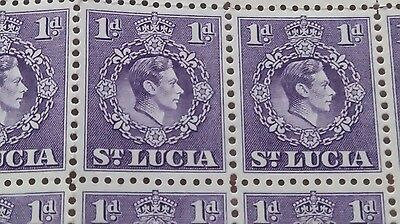 BLOCK OF 107 ST LUCIA GEORGE VI 1d VIOLET 1938-1948