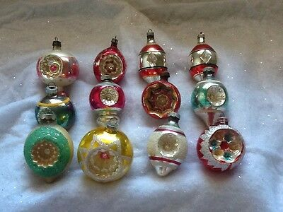 12 Vintage Indent Indented Mercury Glass Christmas Ornaments