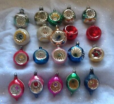 20 Vintage Indent Indented Mercury Glass Christmas ornaments 2-3""
