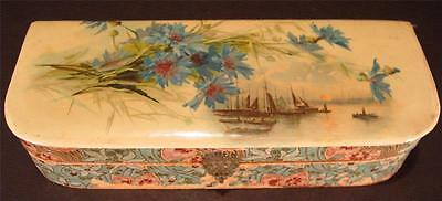 Antique Celluloid Wood Box Sailing Ships Sunset Flowers