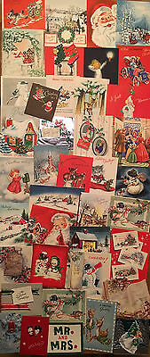 Vintage Christmas Card Lot 79 Cards from 1951 1950's Greeting Used