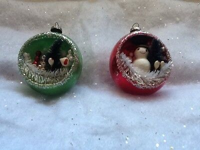 2 Beautiful Vintage 3D Diorama Glass Antique Japan Christmas Ornaments 2""