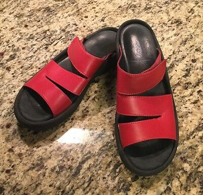 Wolky Women's Sandals Slip On RED Leather Shoes Sz 41 US 10 GREAT!