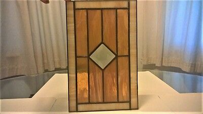 """Amber & Beige & Clear Leaded Stained Glass 6 7/8"""" wide x 11"""" tall"""