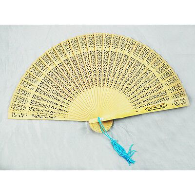 Ladies Fragrant Sandalwood Hand Fan Wooden Scented - Perfect for Summer Occ A7W3