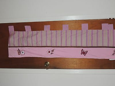 Nojo Emily Valance Butterfly Flower Embroided Appliques Stripes Pink Brown Green