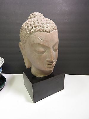 """Vintage Austin Productions Sculpture Statue Buddha Head 1970 13"""" tall Signed"""