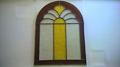 """Amber & Yellow & Frost Leaded Stained Glass 12"""" wide  x 16"""" tall"""