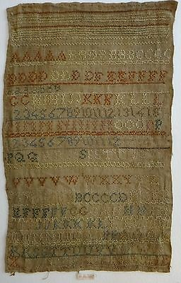 "Antique Needlework Sampler Alphabet & Numbers on Linen? 15"" x 9 ½. e. 19th c."
