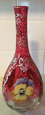 Antique Rubina Decanter With Pansies Free Shipping!