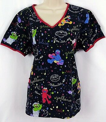 Sesame Street Womens Scrub Hospital Top V Neck Black Print Medium Cotton