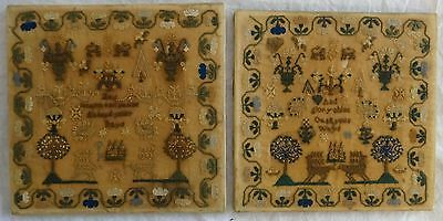 """Fantastic Matched Pair of Antique Needlepoint Samplers on wood frames.19th, 9""""sq"""