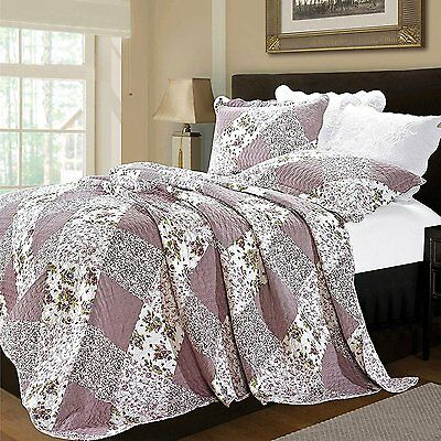 Luxury Vintage Floral 3 Piece Quilted Embroidered Patchwork Bedspread Throw Set