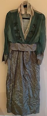 Antique Edwardian Victorian Green Silk Chiffon Dress Gown For Restoration-Estate