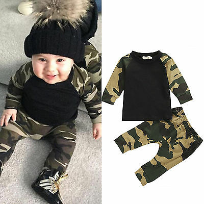 2PCS Toddler Kids Baby Boys Clothes Camouflage T-shirt Tops + Pants Outfits Set