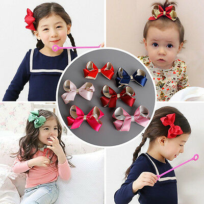 Baby Girls Bow Hair Clip Alligator Clips Ribbon Kids Sides Accessories