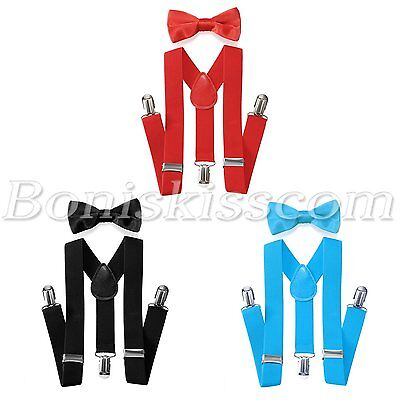 Kids Children Boys Fashion Suspenders Straps Bow Tie Set Elastic Black/Red/Blue