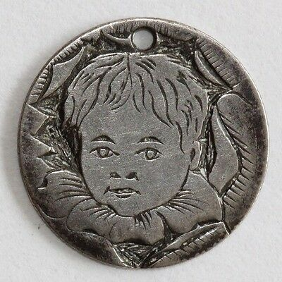 Engraved Love Token Portrait of Child on 1886 Seated Liberty Dime **