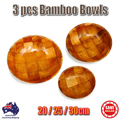 3 pcs Natural Wooden Bamboo Popcorn Bowl Dish Serving Trays