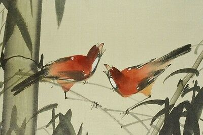 Chinese Hanging Scroll Painting China Asian art Antique Bamboo Sparrow Pic a837