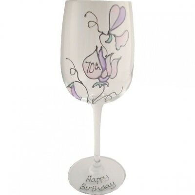 Sweet pea wine glass 70th birthday. Dreamairshop Ltd UK. Free Delivery