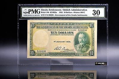 Rare Year 1935 Straits Settlements King George V $10 PMG 30 P-18 Very Fine