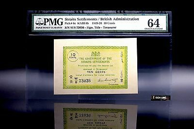 Rare 1919 Straits Settlements 10 Cents PMG 64 Pick 6c Choice Uncirculated