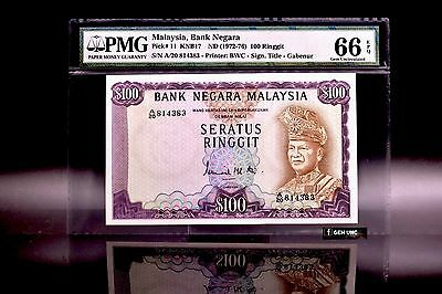 1972 Malaysia 100 Ringgit 2nd Series Banknote PMG 66 EPQ P-11 Gem UNC
