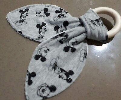 Baby Maple Teether Ring 100%  Cotton & Bamboo Back. Mickey Mouse on Grey.H / M