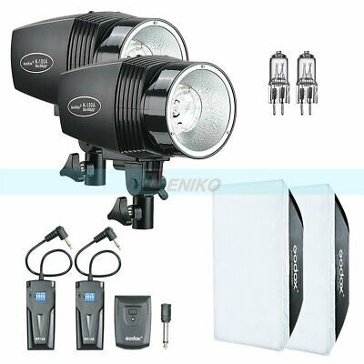 2X Godox K-180A Flash Light Head + RT-16 Trigger + Softbox + 75W Bulb Kit
