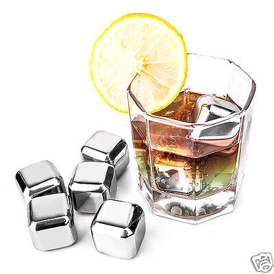 4/6/8 Pcs Reusable 304 Stainless Steel Quick Frozen Ice Cubes with Silicone Case