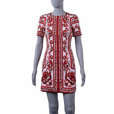 a9aead579a6 DOLCE   GABBANA Tile Print Majolica Silk Stretch Mini Dress Red White 05736