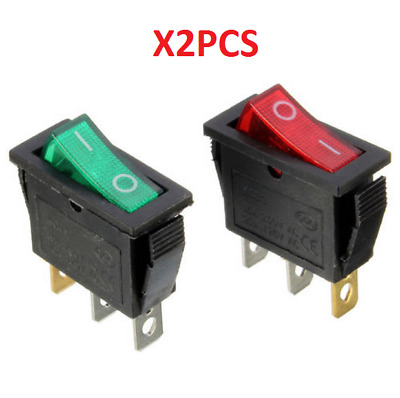 On/Off Large Rectangle Rocker Switch LED Lighted Car Dash Boat 3-Pin SPST 12V ^