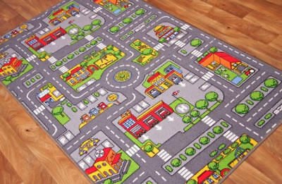 Fun Interactive Kids City Road Play Mat Educational Nonslip Children Village Rug