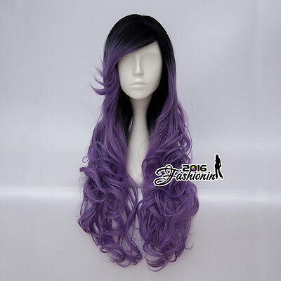 70CM Curly Long Lolita Black Mixed Purple Women Ombre Cosplay Wig Heat Resistant