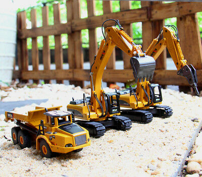 Diecast Vehicle Aolly Construction Digger Car Excavator Tuck Kids Game Toy Play