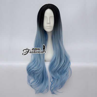 Black Mixed Light Blue 80CM Lolita Women Ombre Wavy Cosplay Wig Heat Resistant