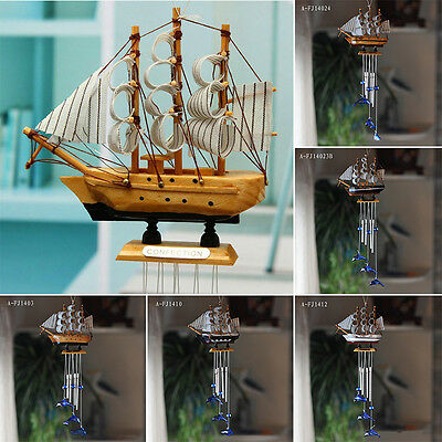4 Tube Sailing Boat Dolphin Church Wind Chimes Garden Outdoor Hanging Bells Gift
