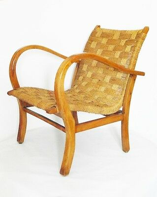 Armchair years 60 wood and cord design Dutch Dutch vintage design