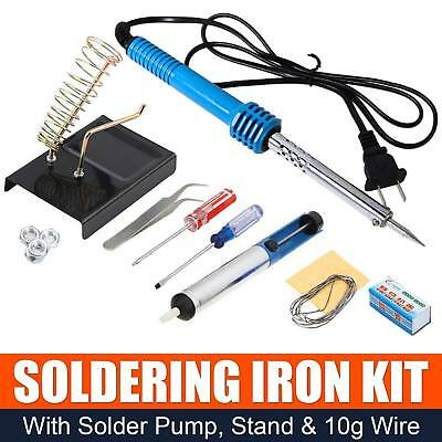 10 in 1 60W 110V Electric Soldering Tools Kit Set Iron Stand Desoldering Pump US