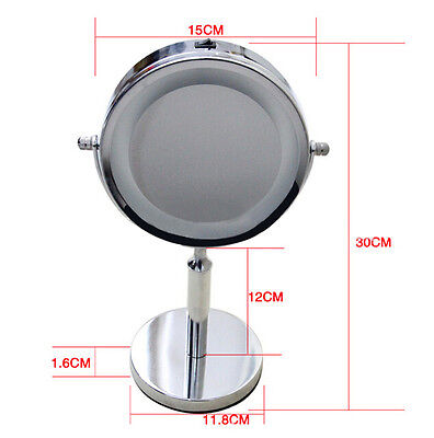 Beauty Bathroom Double Side 5x Magnifying Makeup Cosmetic Mirror w/ LED Light AU