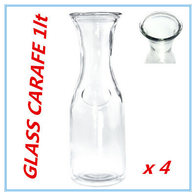 4 x Glass Carafe 1 Ltr for Water Juice Wine Serving Pitcher Jug Bottle wh lid FW