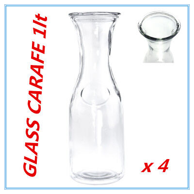 4 x Glass Carafe 1 Ltr for Water Juice Wine Serving Pitcher Jug Bottle wh lid Fd