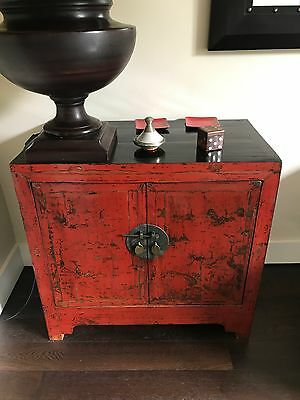 Old Vintage Antique Chinese Cabinet/Cupboard in Red and Black Laquer